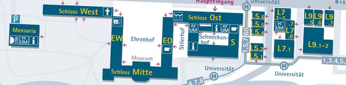 Campusplan Uni Mannheim